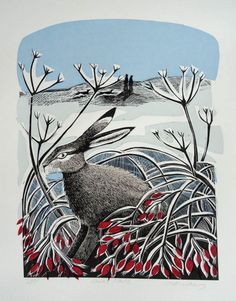 Buy Angela Harding lino and silkscreen prints inspired by the British countryside. Perfect for anyone with a love for nature and animals. Art And Illustration, Illustrations, Linocut Prints, Art Prints, Rabbit Art, Logo Rabbit, Rabbit Drawing, Into The Fire, Art Brut
