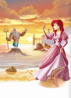 Ariel leaving her father in sea.