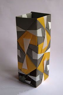 origami...this is so cool! Love the yellow and gray