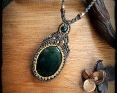 Moss agate macrame necklace macrame jewelry by SelinofosArt