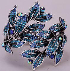 Leaf Bangle Bracelet Bling Fien Jewelry Antique Gold Silver Plated Crystal D19