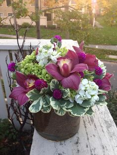 This was my first client in Dublin, CA. He called me to have fuschia cymbidium orchids delivered to his lovely lady. We made a beautiful burlap wrapped flower arrangment with the orchids flowing out of it. They loved it! Cymbidium Orchids, Dublin, Burlap, Floral Design, Burgundy, Blush, Lady, Flowers, Plants