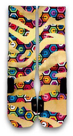 Zebra Hexapod Nike Custom Elite Socks Custom Socks, Nike Custom, Wacky Socks, Nike Elite Socks, Tube Socks, Spice Things Up, Color Patterns, Stripes, Nike Wear