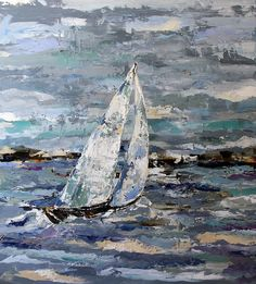 Contemporary Artists of Texas: Cloudy Sailing by Texas Artist Laurie Pace, Sailboat Painting