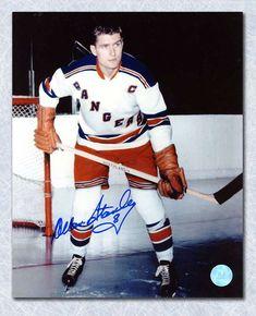 Allan Stanley New York Rangers Autographed NHL Captain Pose Action Photo New York Rangers, Nhl, Rangers Hockey, Tim Hortons, Sports Figures, Ny Yankees, Ice Hockey, Captain America, Poses