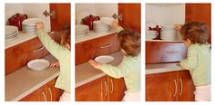 Great practical life work around the house, emptying the dishwasher. So much to learn from this activity.