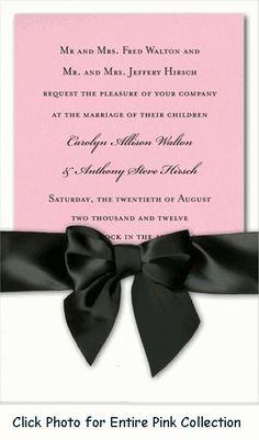 For ceremony ideas http://pinterest.com/groomsandbrides/wedding-ceremonies-ceremony-ideas/ ...Pink Wedding Invitations - Hundreds of Styles and Designs