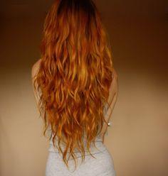 Long ginger hair..