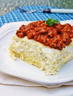 """The Kitchen Life of a Navy Wife:  """"Baked Spasanga"""".... lasagna made with spaghetti noodles... so cheesy & creamy ! A real must try !"""