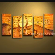 Enchant Contemporary Wall Art Hand Painted Oil Painting Gallery Stretched Abstract. This 5 panels canvas wall art is hand painted by Bo Yi Art Studio, instock - $168. To see more, visit OilPaintingShops.com
