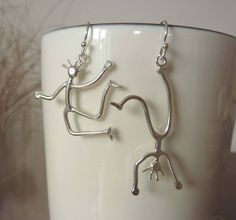 Dancing People Silver Earrings