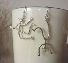 Dancing People Silver Earrings