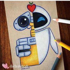 Doodle art 678354762604492299 - Wall-E & Eve Source by Cute Disney Drawings, Cool Art Drawings, Pencil Art Drawings, Art Drawings Sketches, Cartoon Drawings, Easy Drawings, Drawing Disney, Doodle Art, Wall E Eve