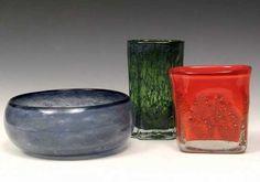 effie-graa.com. Bowl and vases, Benny Motzfeldt, PLUS, 1970s. Fredrikstad, Glass Design, Norway, Glass Art, Candle Holders, Candles, Retro, Vases, 1970s