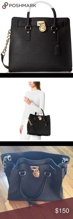 Michael Kors Hamilton Large Shoulder Bag Saffiano black leather with gold hardware. Genuine Michael Kors. Used a few times. No dust bag sadly. Huge bag. Great for work.  All offers considered. Michael Kors Bags Shoulder Bags