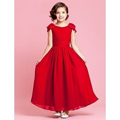 A-line Jewel Ankle-length Chiffon Flower Girl Dress With Bow – USD $ 99.99