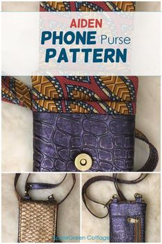 This super cool diy phone case you can make from fabric and use either as a phone bag ort a minimalistic crossbody bag - your best mini everyday bag. Get your pattern now and check out what pattern testers said about it! #diyphonecase #phonebagpattern #diyphonesleeve #cellphonepurse Coin Purse Pattern, Wallet Pattern, Tote Pattern, Purse Patterns, Cell Phone Purse, Diy Phone Case, Sewing To Sell, Small Sewing Projects, Everyday Bag