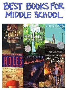 A Selection of the Best Books for Middle School Selected by Cross-Referencing Numerous Best-Books-for-Kids Books Middle School Books, Middle School Libraries, Middle School Classroom, Middle School English, Classroom Libraries, High School, Future Classroom, 6th Grade Ela, 6th Grade Reading