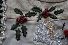 Tutorial for stitching the holly berries - embroidery