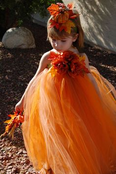 Autumn Princess! (The pumpkin hair band is a little much, but love the idea of a photo shoot her and fall leaf background)