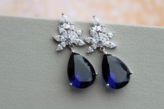 Dark Blue Sapphire Earrings, Blue Sapphire Bridal Earrings ,Art Deco Earrings, Wedding Earrings, Crystal Teardrop Earrings Wedding Jewellery by DonataleAccessories on Etsy https://www.etsy.com/uk/listing/502320917/dark-blue-sapphire-earrings-blue