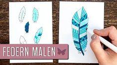 Schritt für Schritt Anleitung, wie du schöne, gemusterte und einfache Federn zeichnen kannst. Diese eignen sich perfekt als Deko für dein Bullet Journal! Bullet Journal Doodles, Bullet Journal 2020, Bujo, Lady, Drawings, Youtube, Bullet Journal Ideas, Feathers, Native Americans