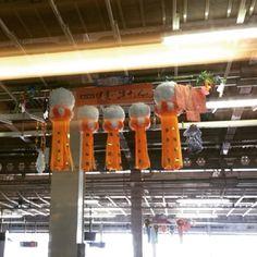 新幹線の中から、仙台駅でパシャリ ミニサイズの吹き流しと、着物の飾りがかわいいです #東亜和裁#仙台七夕#toawasai #東北の祭 #着物#吹き流し