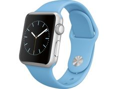Apple - Apple Watch Sport 38mm Silver Aluminum Case - Blue Sport Band - Angle Zoom