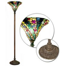 Warehouse of Tiffany 1684+BB75B Style Green Wave Torchiere Floor Lamp  at Lowes