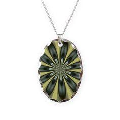 Green Fractal Art Necklace