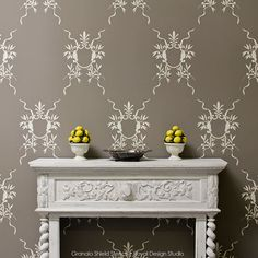 Give your home a dramatic look with the help of wall stencils wall stencils italian wall art stencils - classic european room makeover ideas - royal LVZAHJK Damask Wall Stencils, Lace Stencil, Large Wall Stencil, Stencil Wall Art, Wallpaper Stencil, Wall Stencil Patterns, Stencil Painting On Walls, Mural Wall Art, Wall Art Decor
