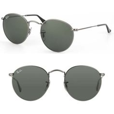 Ray-Ban Dark Grey Round Metal Sunglasses (145 CAD) ❤ liked on Polyvore featuring sunglasses, glasses, accessories, glasses/sunglasses, sunnies and grey