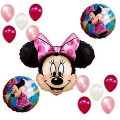 Birthday Party Supplies Minnie Mouse Girl Kids Pink Mylar Foil Balloons Bouquet