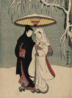 """Suzuki Harunobu (1725-1770), ""Lovers Under an Umbrella in the Snow"""