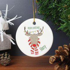 Personalised Retro Reindeer Round Ceramic Decoration