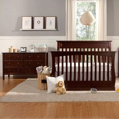 We love the Glenn nursery set in espresso looks great with navy and is great for both girls and boys.