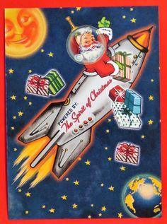 Vintage Style Christmas Card UNUSED Mid Century Santa In Rocketship Smiling Moon   Collectibles, Paper, Vintage Greeting Cards   eBay!