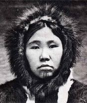 Tattooed Eskimo woman from the Bering Strait region, ca. 1910. Postcard from the Lars Krutak's collection.  the author.