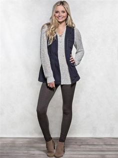 Navy Twill Vest with sweater and brown heather leggings