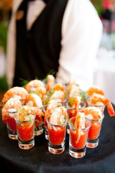 Butlered shrimp cocktail shooters for the Penthouse Cocktail Party - http://workwithpaulbrady.com Live the luxury lifestyle. passive income, wealth creation, time freedom.