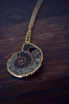 ANCIENT TALISMAN /// Ammonite Fossil Necklace /// Electroformed Gemstone  /// Gold