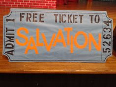 Giant salvation ticket for BHBC Worship Rally