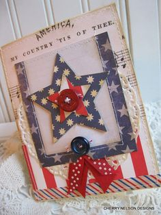 Memorial day card patriotic AMERICA MY by cherrysjubileecards