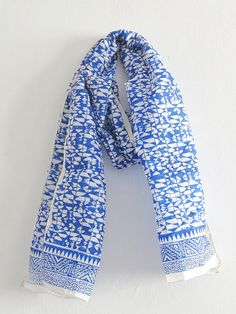 Bright Blue BlOCK PRINT SCARVES for Women Tribal by iThinkFashion, $26.00