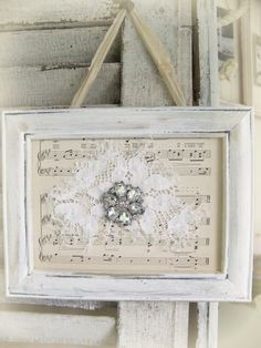 Shabby White Lace Collage Vintage Rhinestone Wall Art Cottage Chic Style Vintage Style Vintage Lace Collage