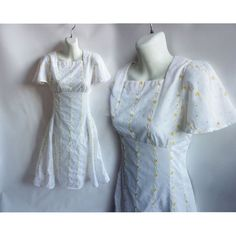 Vintage 1970's Dress Size S White Cotton Floral Eyelet Wedding Reception Flutter Sleeve . This style into 1975 at least, similar to my bridesmaids gowns.