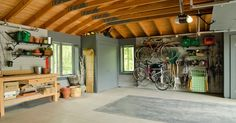 Plan: Get a Spotless, Beautifully Organized Garage garage and shed by Village Builders Inc. Design Garage, Shed Design, House Design, Man Cave Garage, Garage House, Garage Shop, Garage Logo, Diy Garage, Garage Organization