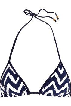 MILLY  Biarritz zigzag-print triangle bikini top