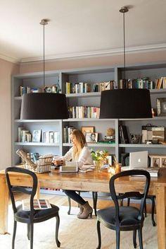 office, wood table, black pendants: