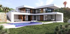Your professional purchasing agent, for the best first-line villas and building plots. Be Spoiled properties, new build, renovations and investments Spain. Modern Family House, Modern House Plans, House Roof, Facade House, Building Design, Building A House, Modern Villa Design, Hillside House, Modern Mansion
